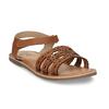 Kožené hnědé dětské sandály s perforací mini-b, hnědá, 466-4619 - 13