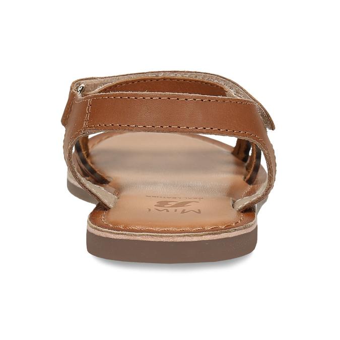 Kožené hnědé dětské sandály s perforací mini-b, hnědá, 466-4619 - 15