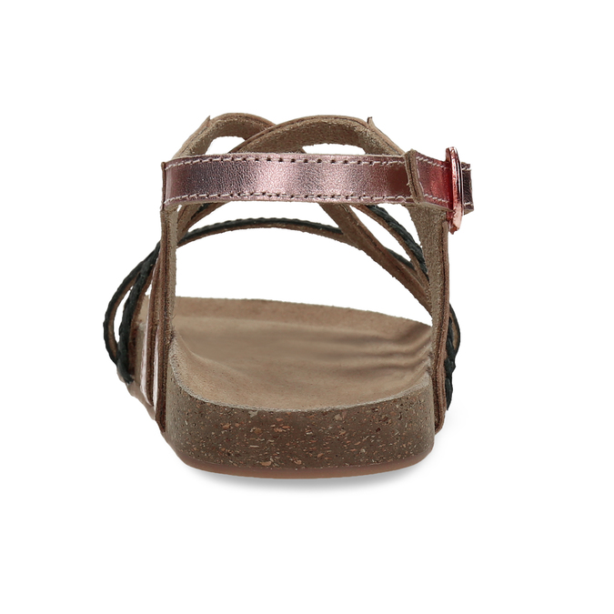 Rose gold sandály s černými pásky mini-b, zlatá, 266-6605 - 15