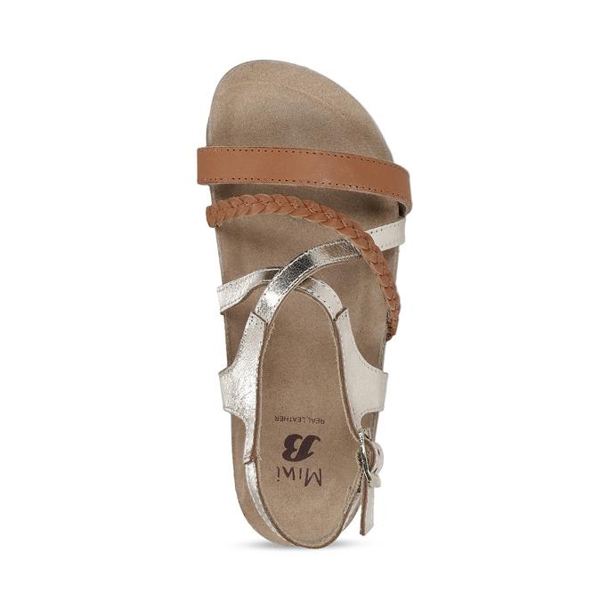Kožené hnědé sandály se zlatými pásky mini-b, hnědá, 266-4605 - 17