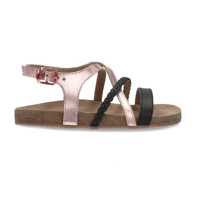 Rose gold sandály s černými pásky mini-b, zlatá, 266-6605 - 19
