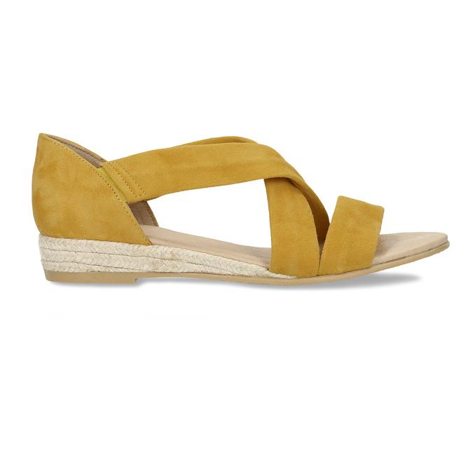 Kožené dámské sandály na klínku bata, žlutá, 563-8601 - 19