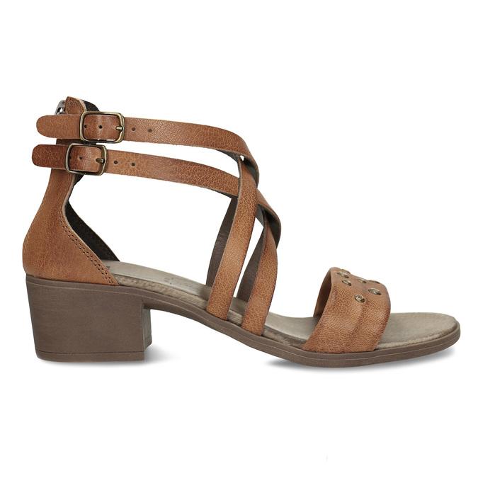 Hnědé dámské kožené páskové sandály bata, hnědá, 664-4614 - 19