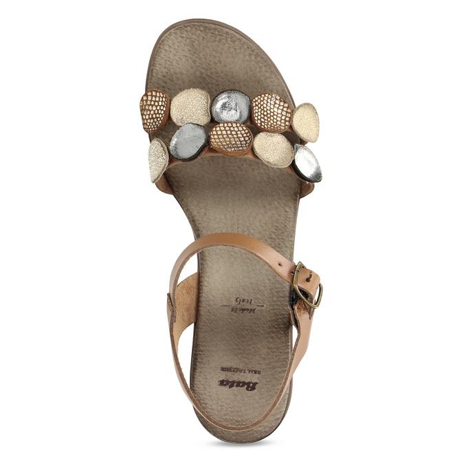 Světle hnědé dámské kožené sandály bata, hnědá, 664-4615 - 17