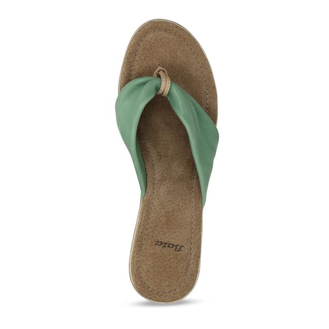 Kožené pantofle se zeleným prvkem v bohémském stylu bata, zelená, 764-7612 - 17