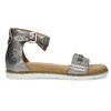 Stříbrné dámské kožené sandály s kamínky bata, stříbrná, 564-1614 - 19