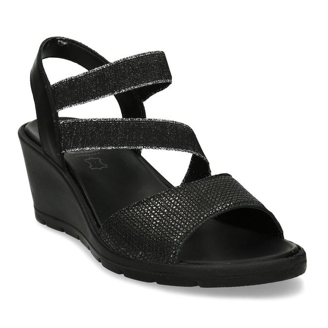 Černé sandály na klínovém podpatku comfit, černá, 666-6606 - 13