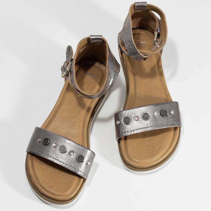 Stříbrné dámské kožené sandály s kamínky bata, stříbrná, 564-1614 - 16