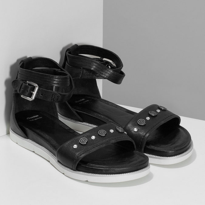 Černé dámské kožené sandály s kamínky bata, černá, 564-6614 - 26