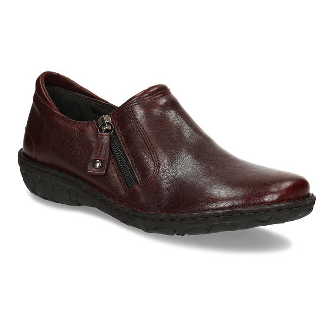 Nízká dámská obuv v tmavočervené kůži bata, červená, 594-5625 - 13