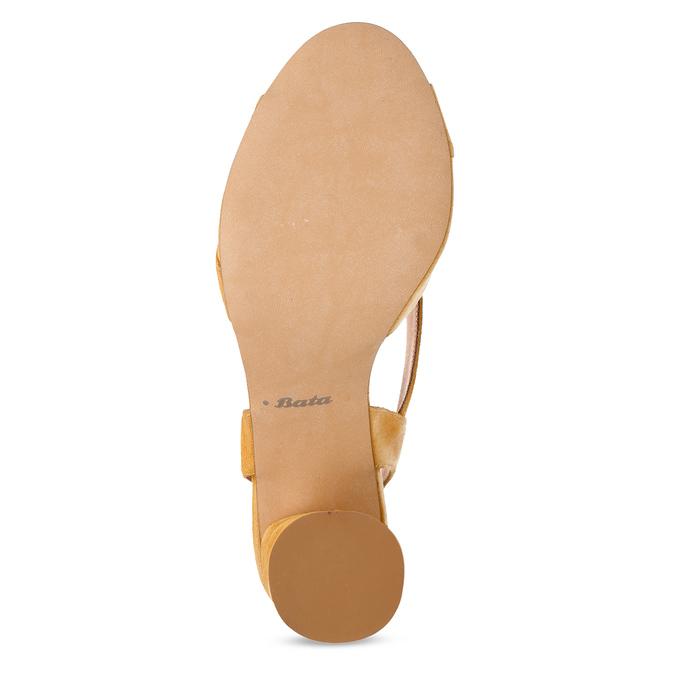 Žluté dámské kožené sandály na stabilním podpatku bata, žlutá, 763-8602 - 18