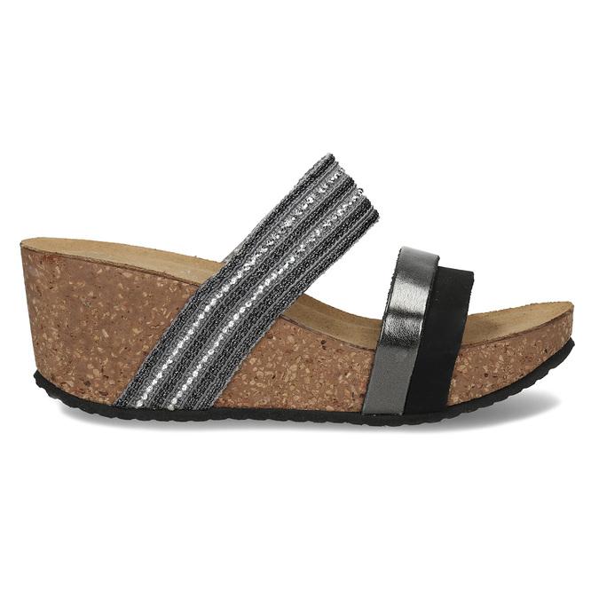 Šedé dámské kožené pantofle na platformě bata, černá, 766-6604 - 19