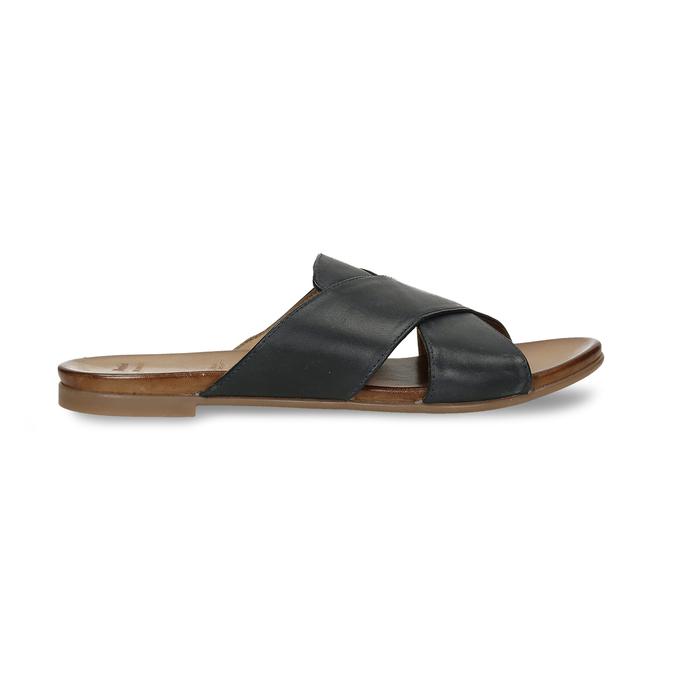Kožené dámské nazouváky s překříženými pásky bata, černá, 564-9601 - 19