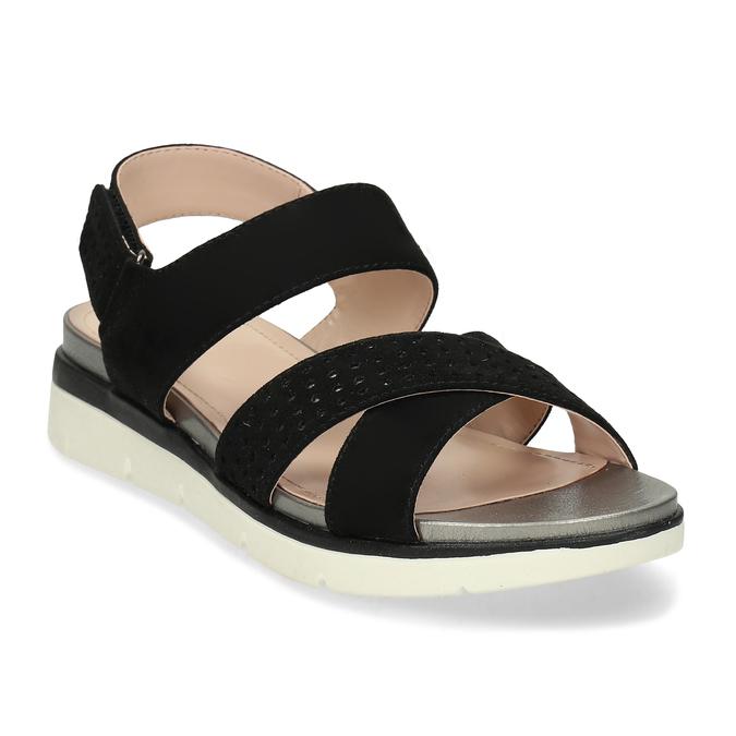 Dámské černé sandály na suchý zip bata, černá, 569-6605 - 13