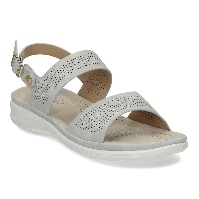 Šedé dámské sandály s perforací comfit, šedá, 561-2603 - 13