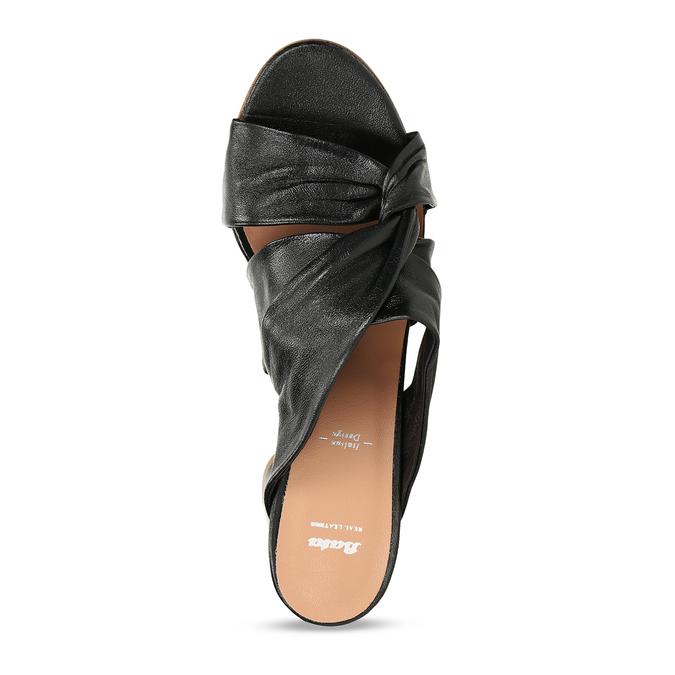 Černé kožené dámské pantfle na podpatku bata, černá, 764-6610 - 17