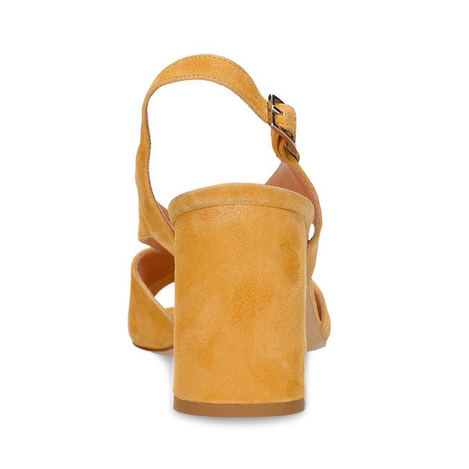 Žluté dámské kožené sandály na stabilním podpatku bata, žlutá, 763-8602 - 15