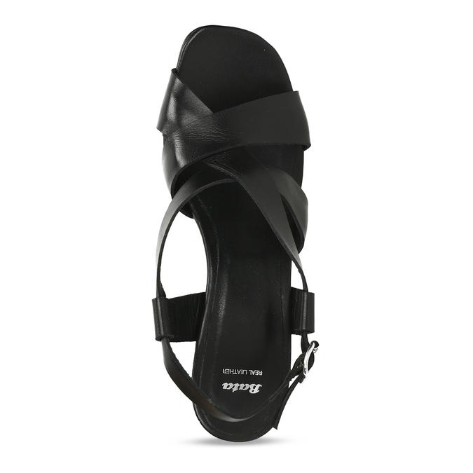 Kožené sandály v černé barvě na vysokém podpatku bata, černá, 764-6605 - 17