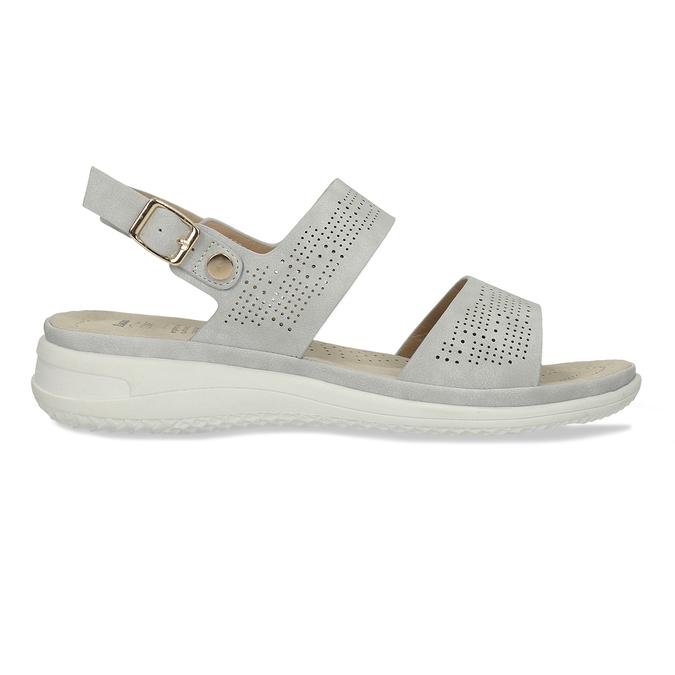 Šedé dámské sandály s perforací comfit, šedá, 561-2603 - 19