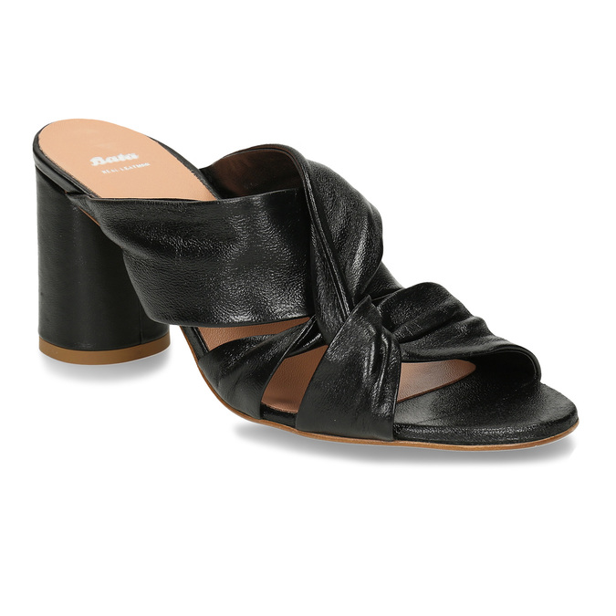 Černé kožené dámské pantfle na podpatku bata, černá, 764-6610 - 13