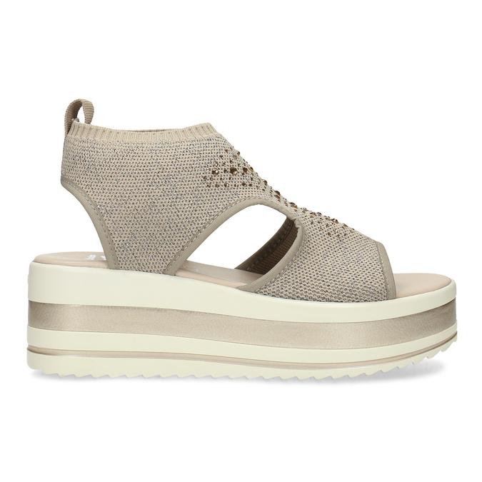 Béžové sandály na flatformě bata-light, zlatá, 669-8625 - 19