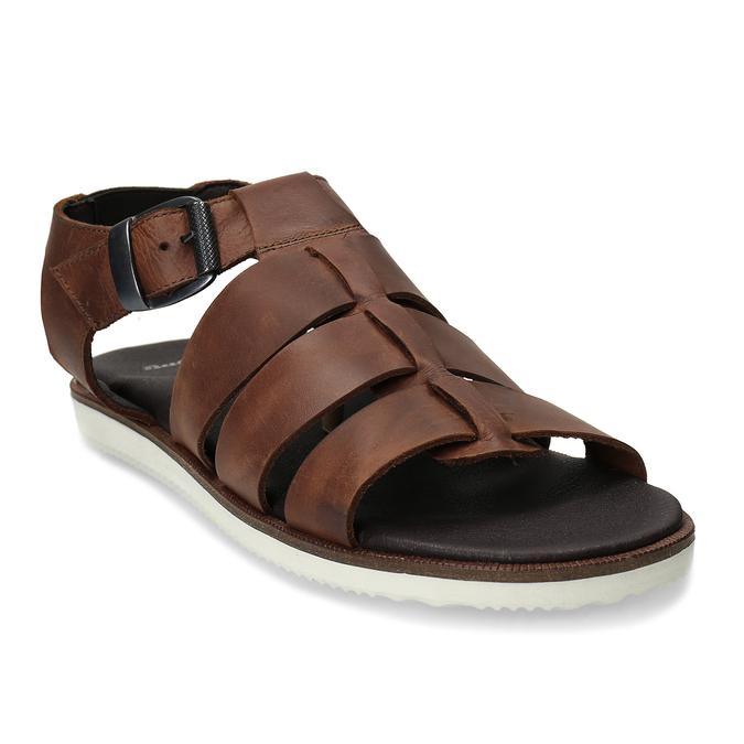 Hnědé pánské kožené sandály se zapínáním u kotníků bata, hnědá, 866-4606 - 13