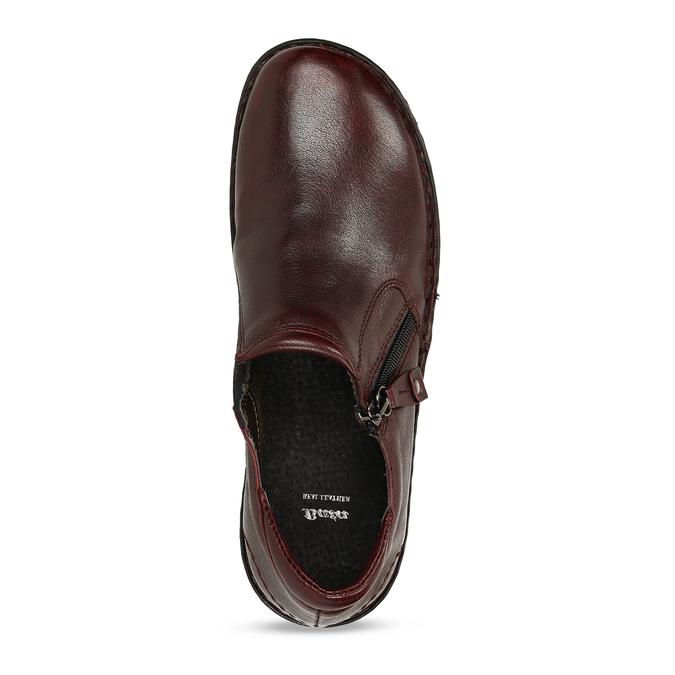 Nízká dámská obuv v tmavočervené kůži bata, červená, 594-5625 - 17