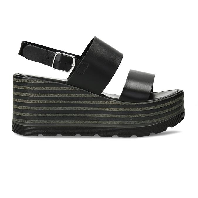 Dámské kožené černé sandály na platformě bata, černá, 764-6611 - 19