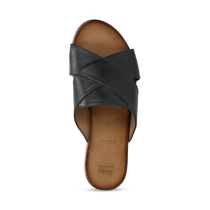 Kožené dámské nazouváky s překříženými pásky bata, černá, 564-9601 - 17
