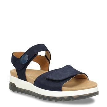 Tmavě modré kožené sandály na hrubé podešvi gabor, modrá, 563-9104 - 13