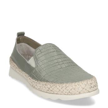 Zelená kožená dámská slip-on obuv comfit, zelená, 524-7604 - 13