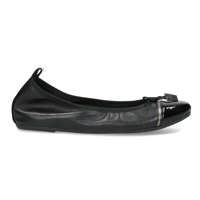 Černé dámské kožené baleríny s lesklou špičkou bata, černá, 524-6625 - 19