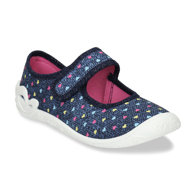 Modrá dívčí domácí obuv se srdíčky mini-b, modrá, 279-9601 - 13