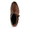 Hnědá dámská kožená kotníková obuv bata, hnědá, 594-4622 - 17