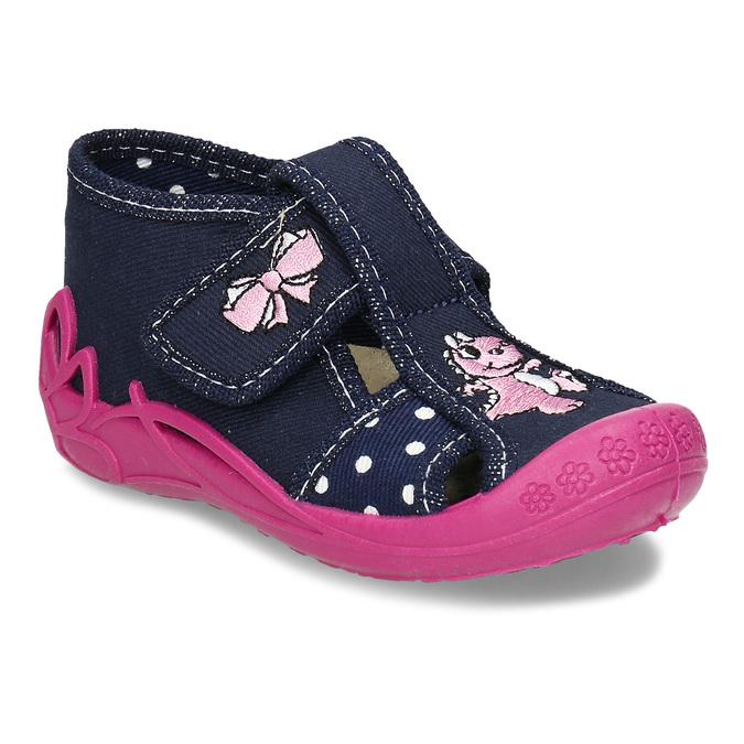 Dívčí papučky s růžovou podešví mini-b, modrá, 179-9605 - 13