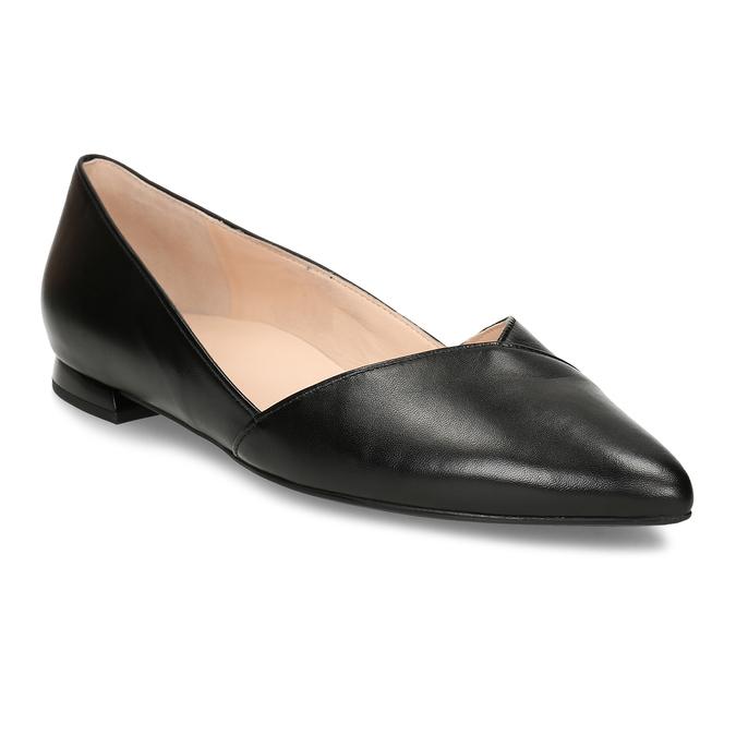 Kožené baleríny s ostrou špičkou hogl, černá, 514-6612 - 13