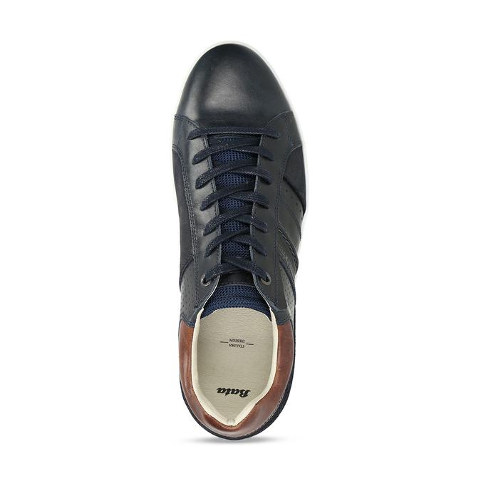 Pánské tenisky v černé kůži bata, modrá, 846-9724 - 17