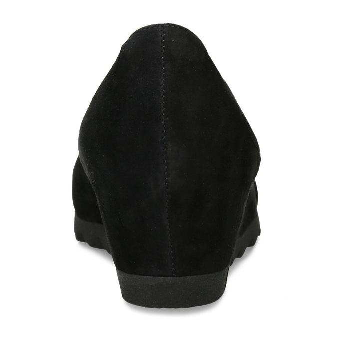 Černé kožené lodičky na klínku gabor, černá, 623-6107 - 15
