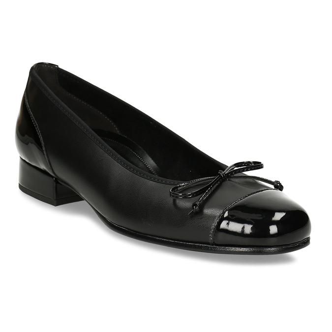 Černé baleríny s nízkým podpatkem s koženou stélkou gabor, černá, 621-6101 - 13
