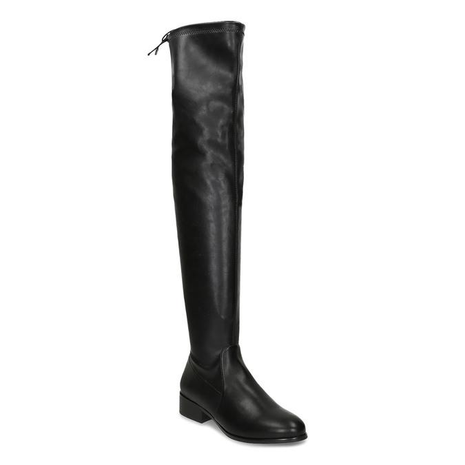 Černé dámské kozačky nad kolena bata, černá, 591-6610 - 13