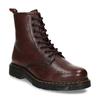 Dámská šněrovací kotníková obuv v tmavočervené kůži bata, červená, 594-5608 - 13