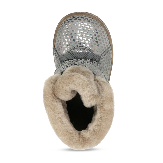 Dívčí šedá kožená zimní obuv s holografickým potiskem froddo, šedá, 194-2612 - 17