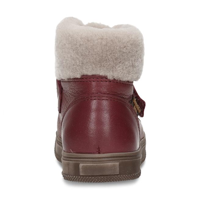 Dívčí vínová kožená kotníková zimní obuv s kožíškem froddo, červená, 194-5612 - 15