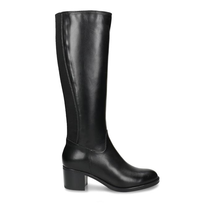 Černé dámské kožené kozačky bata, černá, 694-6644 - 19