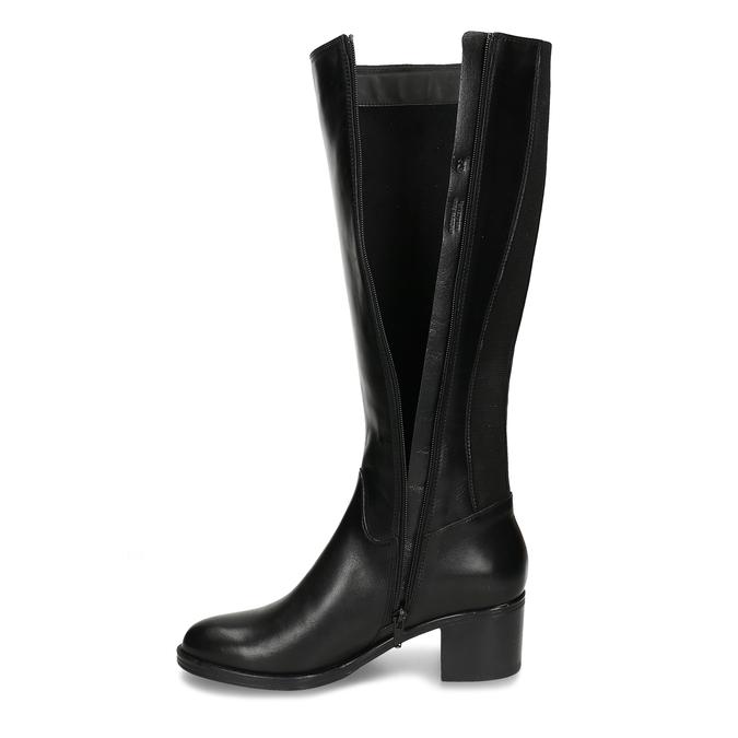 Černé dámské kožené kozačky bata, černá, 694-6644 - 17