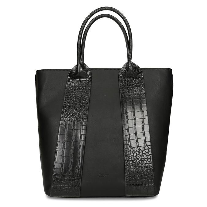 Vyšší koženková kabelka s hadími pruhy gabor, černá, 961-6848 - 26