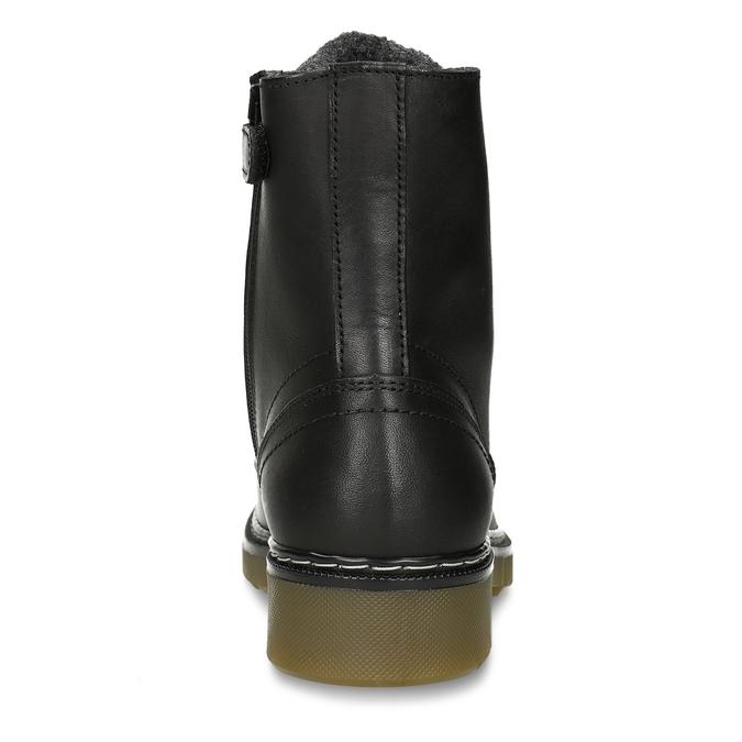 Černá dívčí kožená kotníková obuv s hrubou podešví bullboxer, černá, 424-6605 - 15