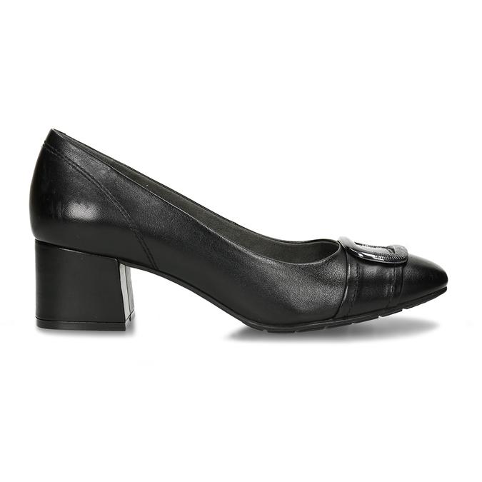 Černé kožené lodičky s výraznou přezkou na špičce bata, černá, 624-6628 - 19