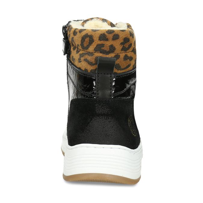 Černé kožené lakované dívčí tenisky s leopardím vzorem bullboxer, černá, 425-6609 - 15
