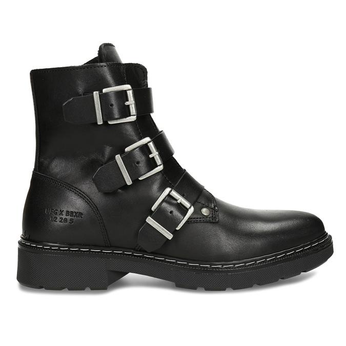 Černá dívčí kožená kotníková obuv s výraznými přezkami bullboxer, černá, 424-6607 - 19